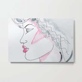 Portrait of a woman in profile drawing and watercolor painting Metal Print