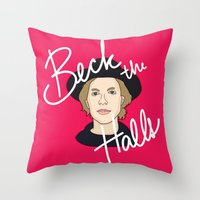 cassia beck Throw Pillows featuring Beck the Halls by Chelsea Herrick