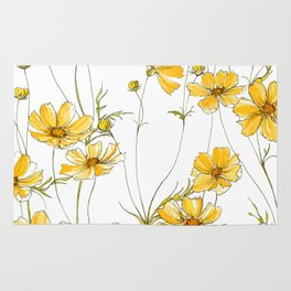 Yellow Cosmos Flowers Rug