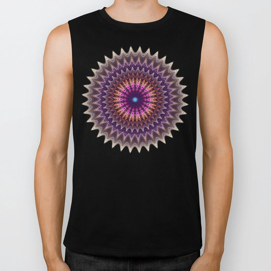 Groovy starry mandala with tribal patterns Biker Tank