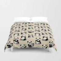 pandas Duvet Covers featuring Pandas by Olya Yang