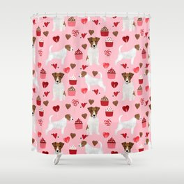 Jack Russell Terrier valentines day cupcakes and hearts love pattern gifts for dog lovers Shower Curtain