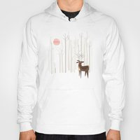 wood Hoodies featuring Reindeer of the Silver Wood by Poppy & Red