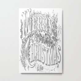 Vintage Merry Christmas Holiday Greeting (Black Text) Metal Print