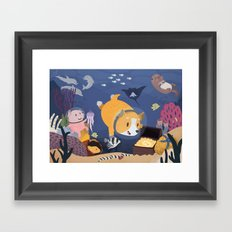 Diving For Treasure! Framed Art Print