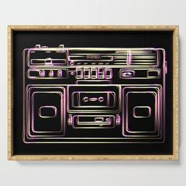 boombox illustration, retro cassette recorder drawing, 80s radio Serving Tray