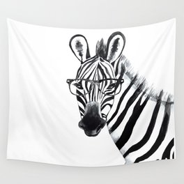 Zebra with glasses, black and white Wall Tapestry