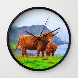Highland cow watercolor painting #9 Wall Clock