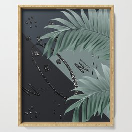 Night Palms Cali Vibes Abstract Glitter Glam #1 #tropical #decor #art #society6 Serving Tray