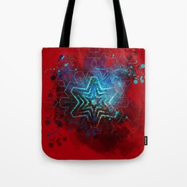 Glowing abstract blue star on blood red Tote Bag