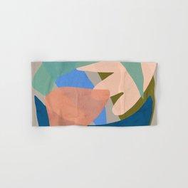 Shapes and Layers no.30 - Large Organic Shapes Blue Pink Green Gray Hand & Bath Towel