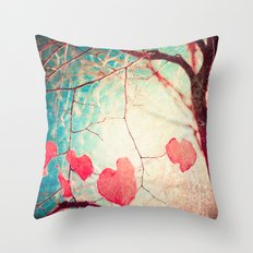 Tree autumn and blue textured sky Throw Pillow