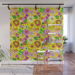 60's Lovers Floral in Sunshine Yellow Wall Mural