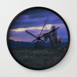 Santa Fe Cowboy on Horse With Teepee Wall Clock