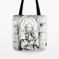 les miserables Tote Bags featuring Les Miserables Portrait Series - Cosette by Flávia Marques