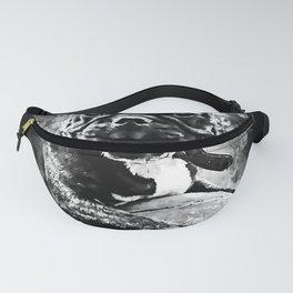 french bulldog basketball splatter watercolor black white Fanny Pack