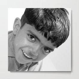 Boy in the Thar Desert (B&W) Metal Print