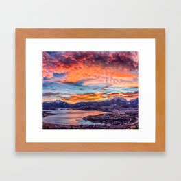 Sunset Pano // Beautiful Rocky Mountain Lake View Colorado Red Orange Sky Framed Art Print
