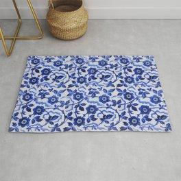 Azulejos blue floral pattern Rug