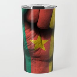 Cameroon Flag on a Raised Clenched Fist Travel Mug