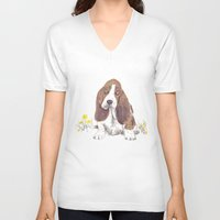 the hound V-neck T-shirts featuring Basset Hound by jo clark