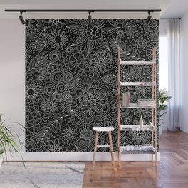 Black Doodle Pattern Wall Mural