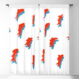 Red Fish People with Blue Shadow Blackout Curtain