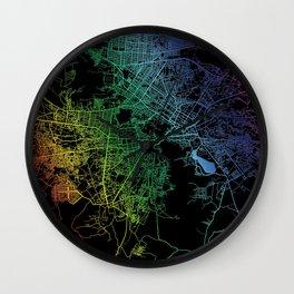 Kabul, Afghanistan, City, Map, Rainbow, Map, Art, Print Wall Clock