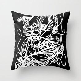 Overgrown Abstract Flower Inverse Throw Pillow