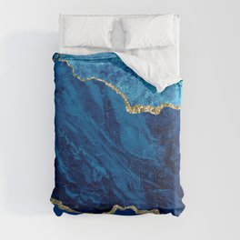 Crushed Blue Velvet Marble With Stardust Aqua & Gold Veins Comforters