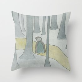 Golden Path in the Forest Throw Pillow