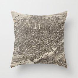 Vintage Pictorial Map of Saginaw Michigan (1885) Throw Pillow
