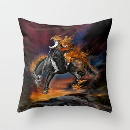 Texas Ghost Rider Throw Pillow
