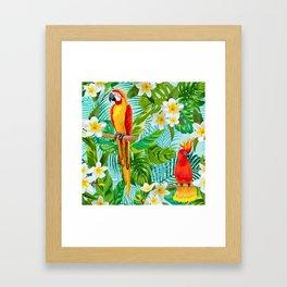 Tropical Parrot Chillin Framed Art Print