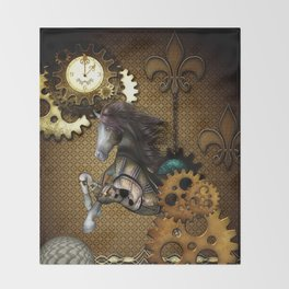 Steampunk, awesome steampunk horse Throw Blanket