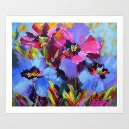 Wild Blue Poppy Garden Art Print