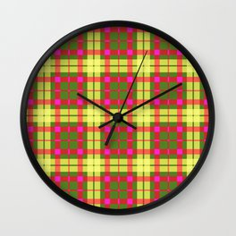 Yellow and red Tartan (Scotch) Pattern Wall Clock