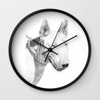 bull terrier Wall Clocks featuring Dogs: Bull Terrier by Ruben Pino