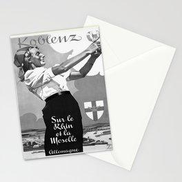 retro noir et blanc Koblenz Stationery Cards