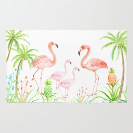 Watercolor flamingo family art print Rug
