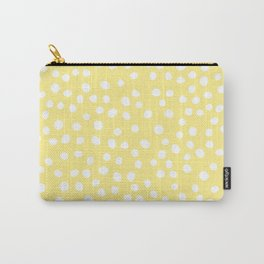 Pastel yellow and white doodle dots Carry-All Pouch