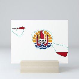 Tahiti Map with Tahitian Flag Mini Art Print