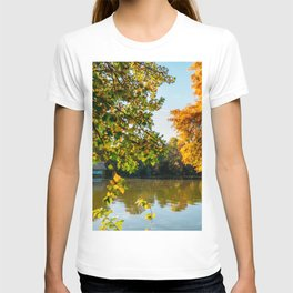 Blue Lake House, Home Sweet Home, Fall Landscape, Lonely Home, Colorful Trees, Autumn Season T-shirt