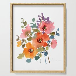 Spring Blooms-1 Watercolor Loose Floral Painting Mylittlebasil Studio Serving Tray