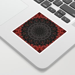 Red and Black Bohemian Mandala Design Sticker