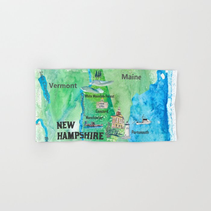 USA New Hampshire State Travel Poster Map with Touristic Highlights Hand & Bath Towel