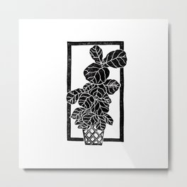 Fiddle Leaf Fig Block Print Metal Print