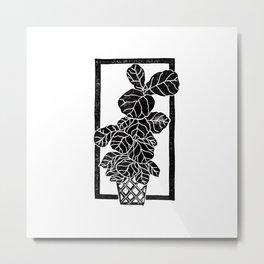 Fiddle Leaf Fig Block Print Metal Print
