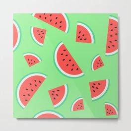 Watermelon Summer Pattern -  Metal Print