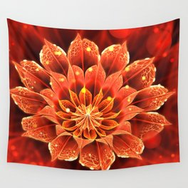 Red Dahlia Fractal Flower with Beautiful Bokeh (Vivid Crimson) Wall Tapestry